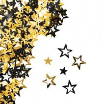 קונפטי כוכבים שחור זהב