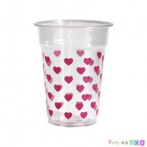 כוסות פלסטיק לבבות ורודים