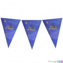 שרשרת דגלים יומולדת כחול זהב