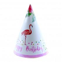 כובעי מסיבה פלמינגו פרחוני