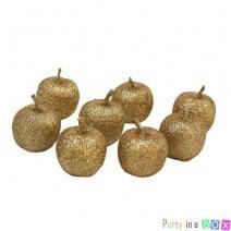 מיני תפוחים לקישוט זהב גליטר