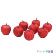 מיני תפוחים לקישוט אדום גליטר