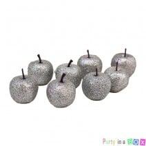 מיני תפוחים לקישוט כסף גליטר