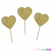 טופרים לבבות גליטר זהב