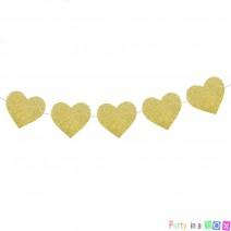 גרלנדת לבבות גליטר זהב