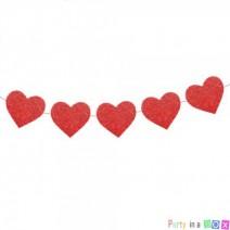 גרלנדת לבבות גליטר אדום