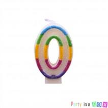 נר מספר 0 - צבעוני נוצץ