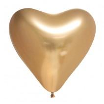 בלוני לב כרום זהב