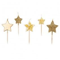 נרות כוכבים גליטר זהב