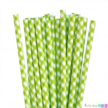 קשיות נייר משבצות ירוק לבן