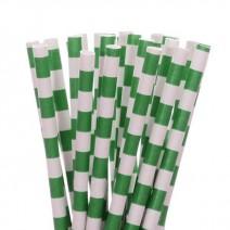 קשיות נייר פסים אופקיים - ירוק