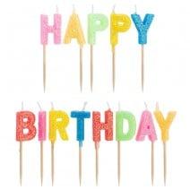 נרות Happy Birthday גליטר