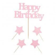 סט טופרים Happy Birthday ורדרד