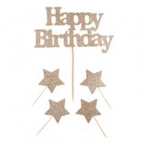 סט טופרים Happy Birthday זהב