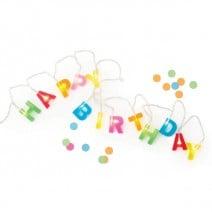 שרשרת נורות Happy Birthday צבעונית