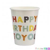 כוסות נייר יומולדת צבעוני