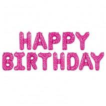בלוני Happy Birthday פוקסיה כוכבים