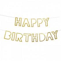 שרשרת Happy Birthday חלולה - זהב