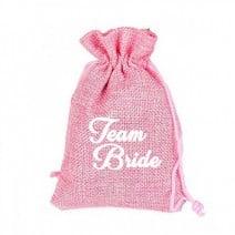 שקית יוטה ורודה Team Bride