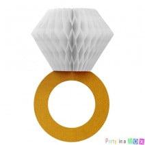 קישוט טבעת יהלום לבן זהב