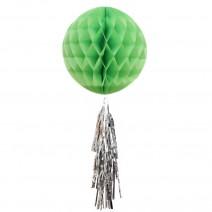 כדור ירוק עם טאסל כסוף