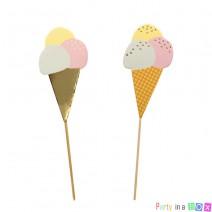 טופרים גביעי גלידה פסטל זהב