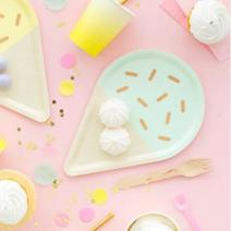 צלחות גדולות גלידה תכלת