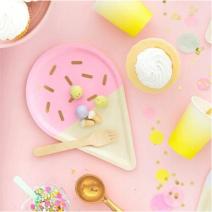 צלחות גדולות גלידה ורודה