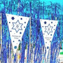 שרשרת דגלים עצמאות כחול מטאלי