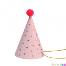 מיני כובעי מסיבה ורוד נקודות