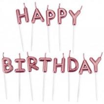 נרות Happy Birthday רוז גולד מטאלי