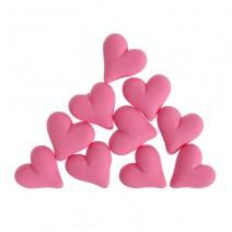 קישוטים מבצק סוכר לבבות ורודים