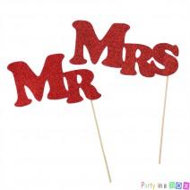 שלטי Mr & Mrs - אדום