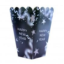 קופסאות פופקורן New Year שחור כסף