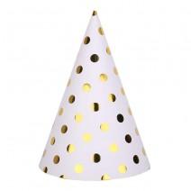 כובעי מסיבה לבן נקודות זהב