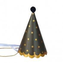 מיני כובעי מסיבה שחור כוכבים