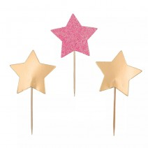 טופרים כוכבים זהב וורוד גליטר