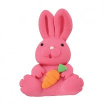 קישוט מבצק סוכר ארנבת ורודה