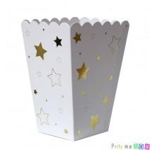 קופסאות פופקורן לבן כוכבים זהב