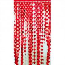 וילון פרנזים לבבות אדומים