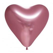 בלוני לב כרום רוז גולד