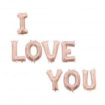סט בלוני I LOVE YOU רוז גולד