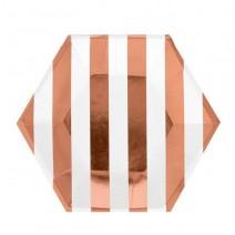 צלחות קטנות משושה פסים רוז גולד