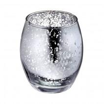 פמוט זכוכית כסוף מעוגל