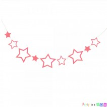שרשרת כוכבים ססגונית - ורוד