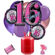 חבילת הליום יומולדת 16 סגול ורוד