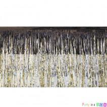 חצאית פרנזים שחור זהב כסף
