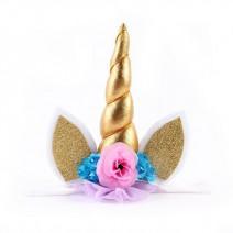 קשת גומי חד קרן זהב פרחים