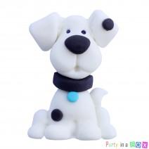 קישוט מבצק סוכר כלב לבן