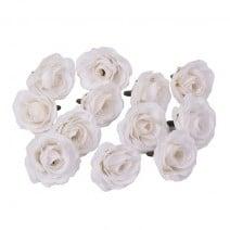 סט ורדי משי - לבן
